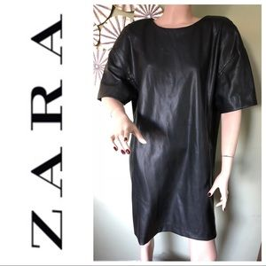 ZARA Trafaluc Black Faux Leather Dress Sz XL